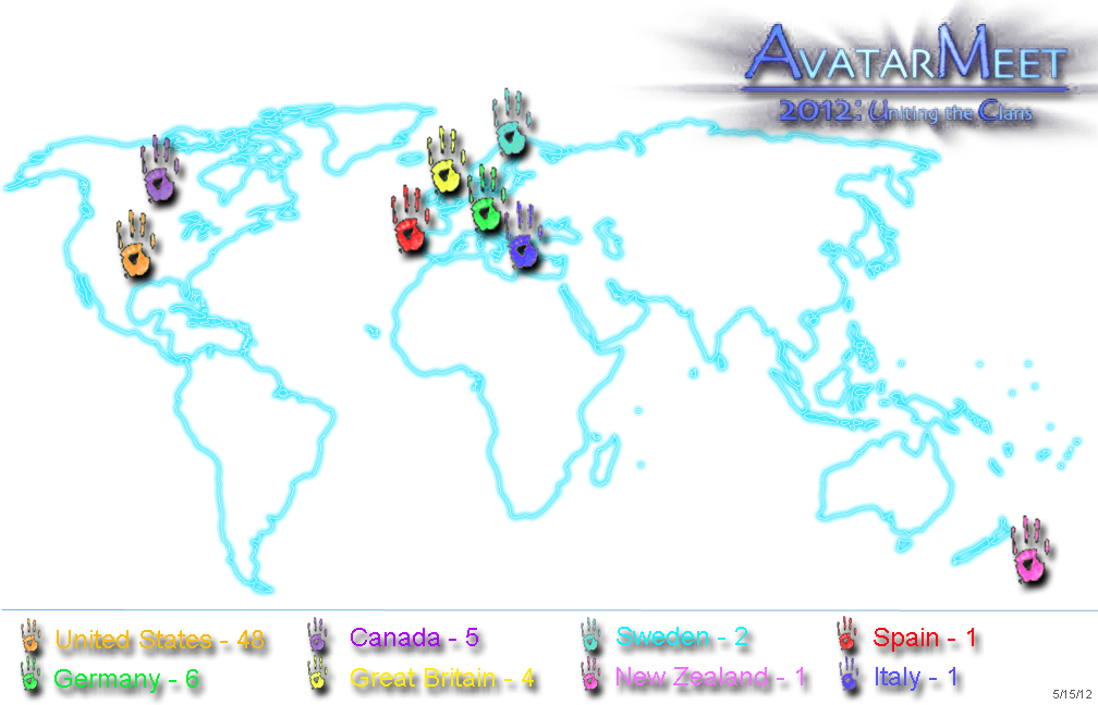 Avatar Meet 2012 attendance by country